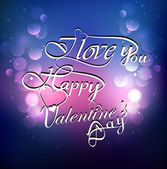 Calligraphic I Love You Valentine's day text colorful background — Stockvector