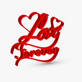 Beautiful love forver artistic 3d text design vector — Stok Vektör