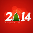 Beautiful Happy New Year 2014 colorful for merry christmas tree — Stock Vector