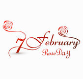 Rose day 7 february for valentine week stylish text colorful vec — Stock Vector