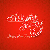 Beautiful A rose for my rose happy rose day stylish text colorfu — Vector de stock