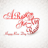 Beautiful A rose for my rose happy rose day stylish text design — 图库矢量图片