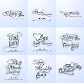 Valentine's hand lettering set collection love themed calligraph — Stock Vector