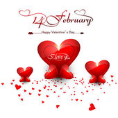 Beautiful hearts for happy valentine's day stylish text design v — 图库矢量图片
