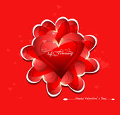 Beautiful card colorful for valentine's day heart design vector — Vettoriale Stock