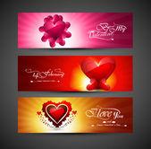 バレンタインの日の明るいカラフルなグリーティング カード 3 ヘッダー デ — ストックベクタ