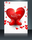 Beautiful brochure card reflection for valentine's day heart des — Stock Vector