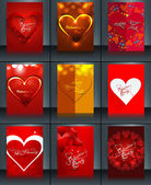 Valentine's day brochure background template collection presenta — Stock Vector