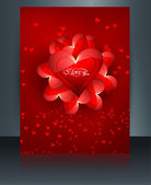 Beautiful card for valentine's day heart brochure reflection col — Stock Vector