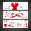 Stock Vector: Website for header or banners set colorful valentines day heart