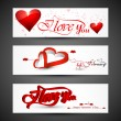 Beautiful header colorful for valentine's day heart banners set — Stock Vector