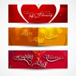 Valentines day greeting card colorful three headers set design v — Stock Vector