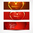 Beautiful valentine's day for banners or headers set vector colo — Stock Vector