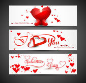 Website for header or banners set colorful valentines day heart — Stock Vector