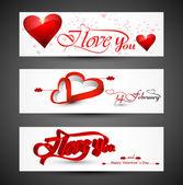 漂亮的头球多姿多彩的情人节心形的横幅广告集 — 图库矢量图片