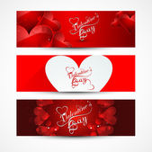 Valentine's day banners or headers set colorful vector design — Stock Vector