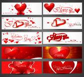 Rúbrica hermoso colorido para el día de san valentín banners diseño vec — Vector de stock