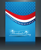 Brochure Template for United States of America in President Day — Stock Vector