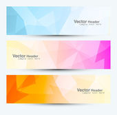 Polygonal background a set headers and banners colorful vector d — Stock Vector