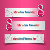 Women's day colorful three header set vector design — Stock Vector