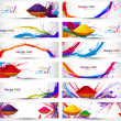 Header and banner set happy holi beautiful indian festival color — Stock Vector #42311881