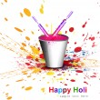 Indian festival Holi with bucket full of colors and pichkari col — Stock Vector