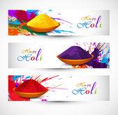 Beautiful holi festival celebration header set colorful backgrou — Stock Vector
