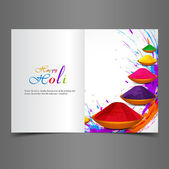 Holi beautiful presentation greeting card with colorful indian f — Stock Vector