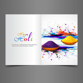 Greeting card colorful background of indian festival holi with c — Stock Vector