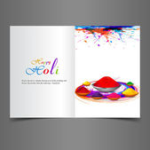 Beautiful background of indian festival holi greeting card with  — Stock Vector