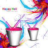 Holi colorful wave with bucket full of water colors and pichkari — 图库矢量图片