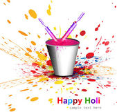Indian festival Holi with bucket full of colors and pichkari col — Stok Vektör