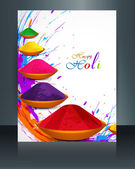 Beautiful spalsh with gulal festival holi brochure template back — Stock Vector