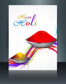 Vector beautiful brochure colorful indian festival Holi with gul — Wektor stockowy