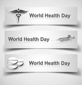 Beautiful world health day three header set medical symbol vecto — Stock Vector