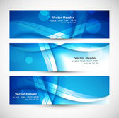Beautiful blue abstract three header set colorful wave vector  — Stock Vector