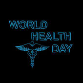 World health day text concept medical black colorful background  — Vector de stock