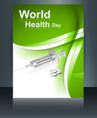 World health day brochure concept with medical symbol template r — Vettoriale Stock