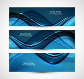 Beautiful business header blue shiny stylish wave design vector  — Vector de stock