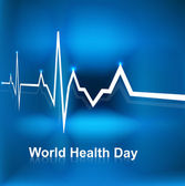Beautiful World health day concept with beats line medical blue  — 图库矢量图片