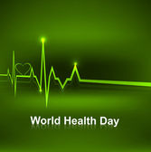World health day medical concept with heart beats green colorful — Cтоковый вектор