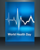 Vector llustration of heart beats on world health day brochure t — Stock Vector