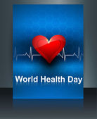 World health day template brochure with heart beats medical colo — Stock Vector