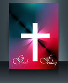 Beautiful brochure colorful template Cross for Good Friday refle — Stock Vector