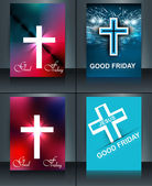 Good Friday brochure template collection card for Jesus cross co — Stok Vektör