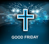 Good Friday for Jesus cross on blue colorful background vector  — Stock Vector