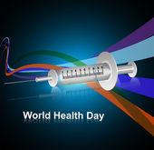 Syringe for World health day medical symbol concept colorful wav — Stock Vector