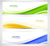 Brazil flag concept three colorful wave header set design  — Stock Vector