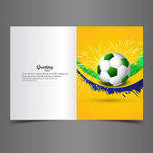 Beautiful Brazil colors concept shiny soccer ball  greeting card — Stock Vector