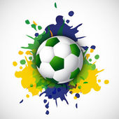 Beautiful Soccer ball with brazil colors splash grunge backgroun — Stock Vector